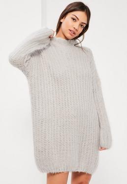 Grey Brushed Chunky Stitch Jumper Dress