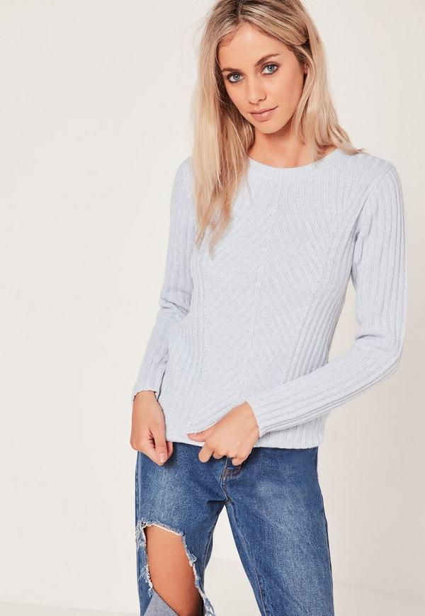 Crew Neck Ribbed Jumper Blue