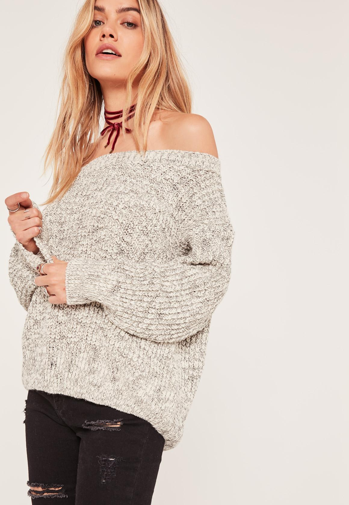 Grey Bardot Chunky Fisherman Stitch Sweater