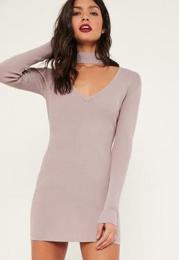 Purple Choker Neck Bodycon Mini Jumper Dress