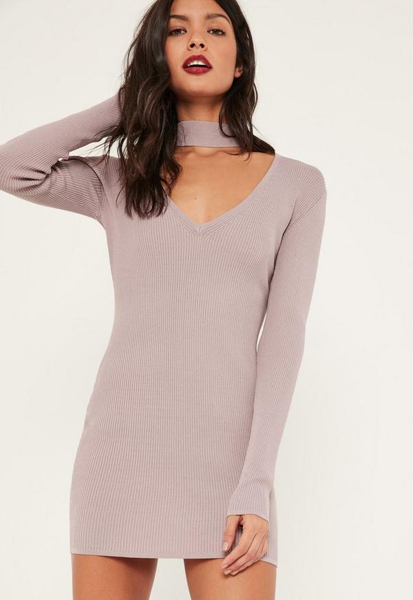 Purple Choker Neck Bodycon Mini Jumper Dress