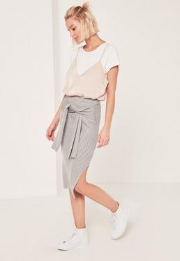 Grey Tie Waist Midi Skirt