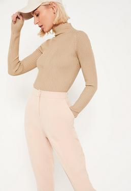 Nude High Neck Bodysuit