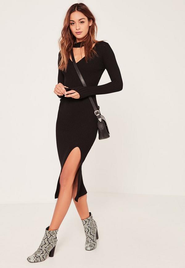 Black Ribbed Choker Neck Side Split Jumper Dress