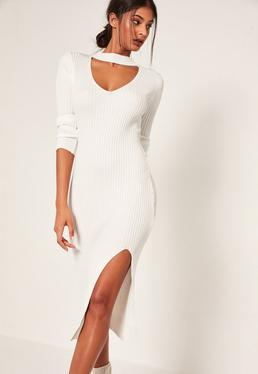 Cream Ribbed Choker Neck Side Split Midi Dress
