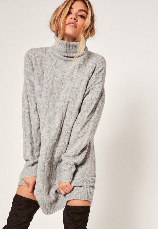 robe pull grise col roul mailles torsad es missguided. Black Bedroom Furniture Sets. Home Design Ideas