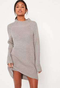 Grey Chunky Funnel Neck Mini Jumper Dress