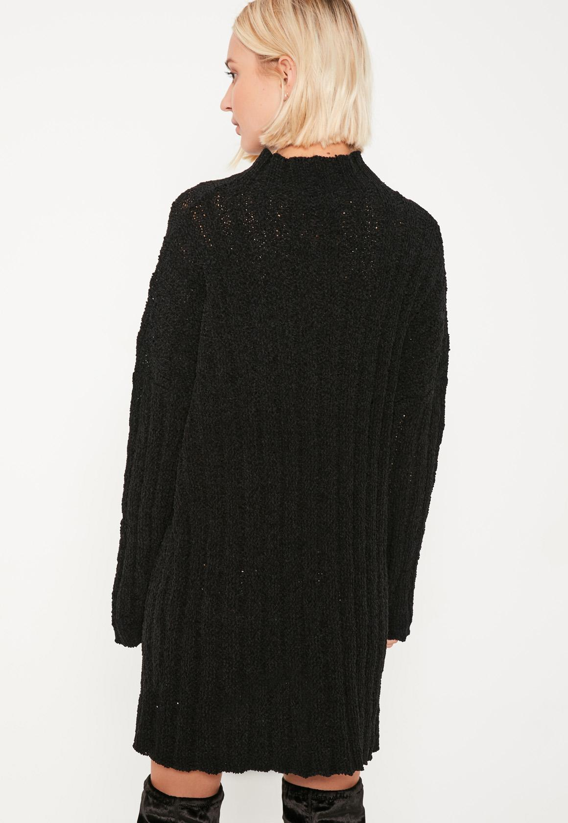 Knitting Pattern Slouch Jumper : Black Soft Knit Slouch Jumper Dress - Missguided