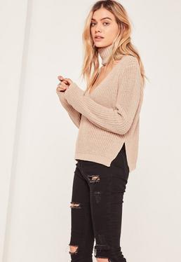 Nude Side Split Turtleneck Sweater