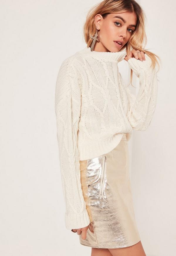 Chunky Cable High Neck Crop Jumper Cream