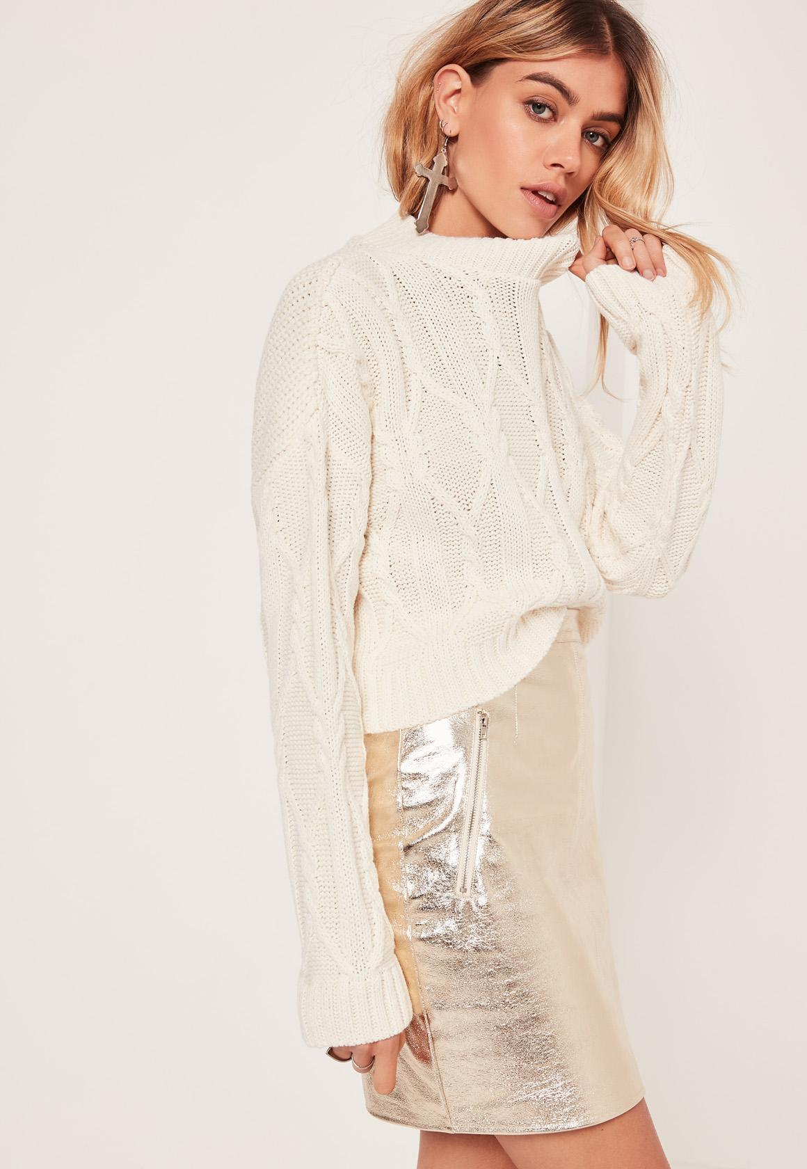 Cream Chunky Cable High Neck Cropped Sweater | Missguided