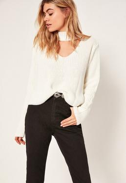 Choker Neck Chunky Cropped Jumper White