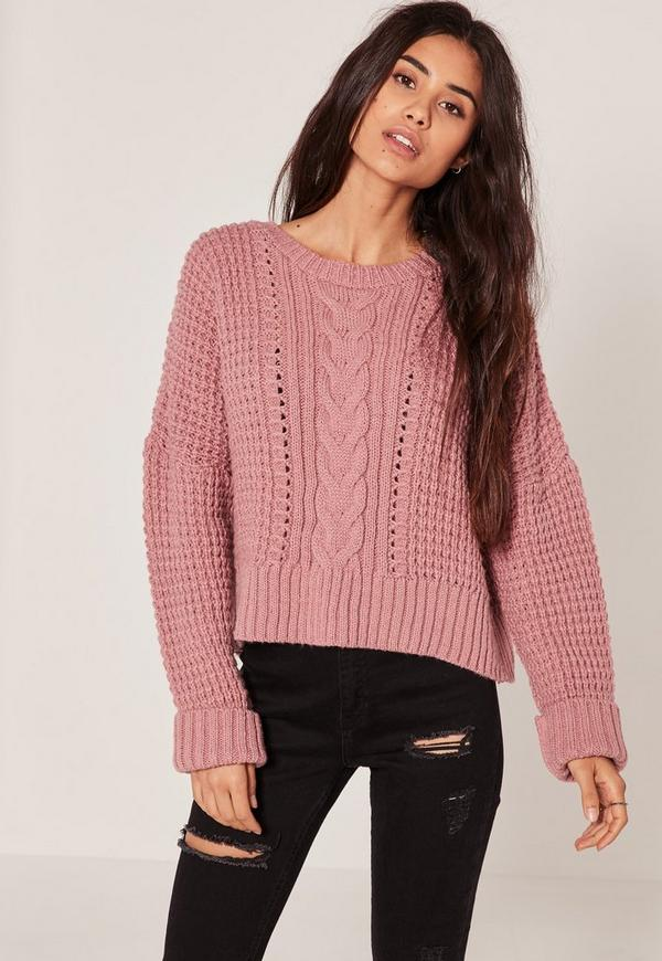 Pink Cable Cropped Jumper