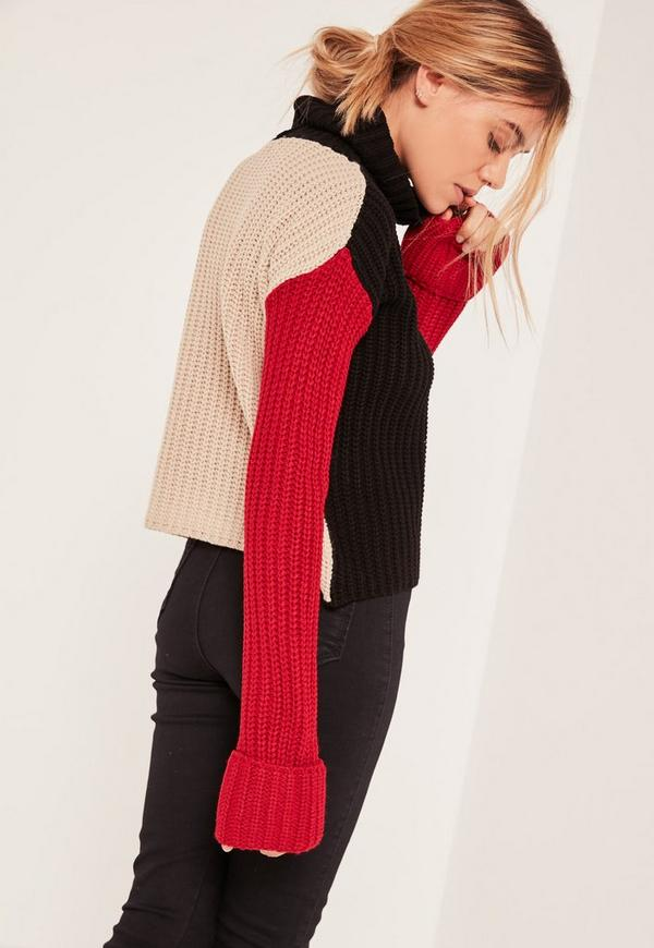 Multi Chunky Roll Neck Colour Block Jumper