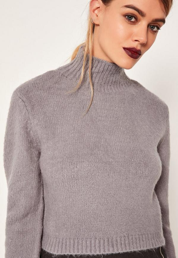 Grey Turtle Neck Fluffy Jumper