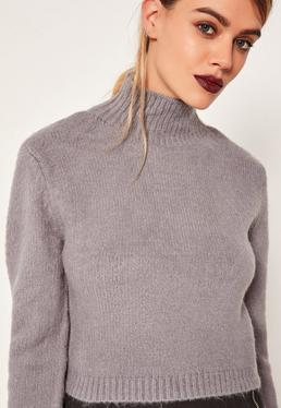 Grey Turtleneck Fluffy Sweater