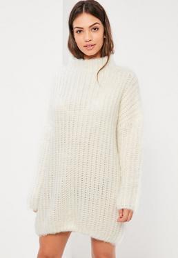 Cream Brushed Chunky Mini Jumper Dress