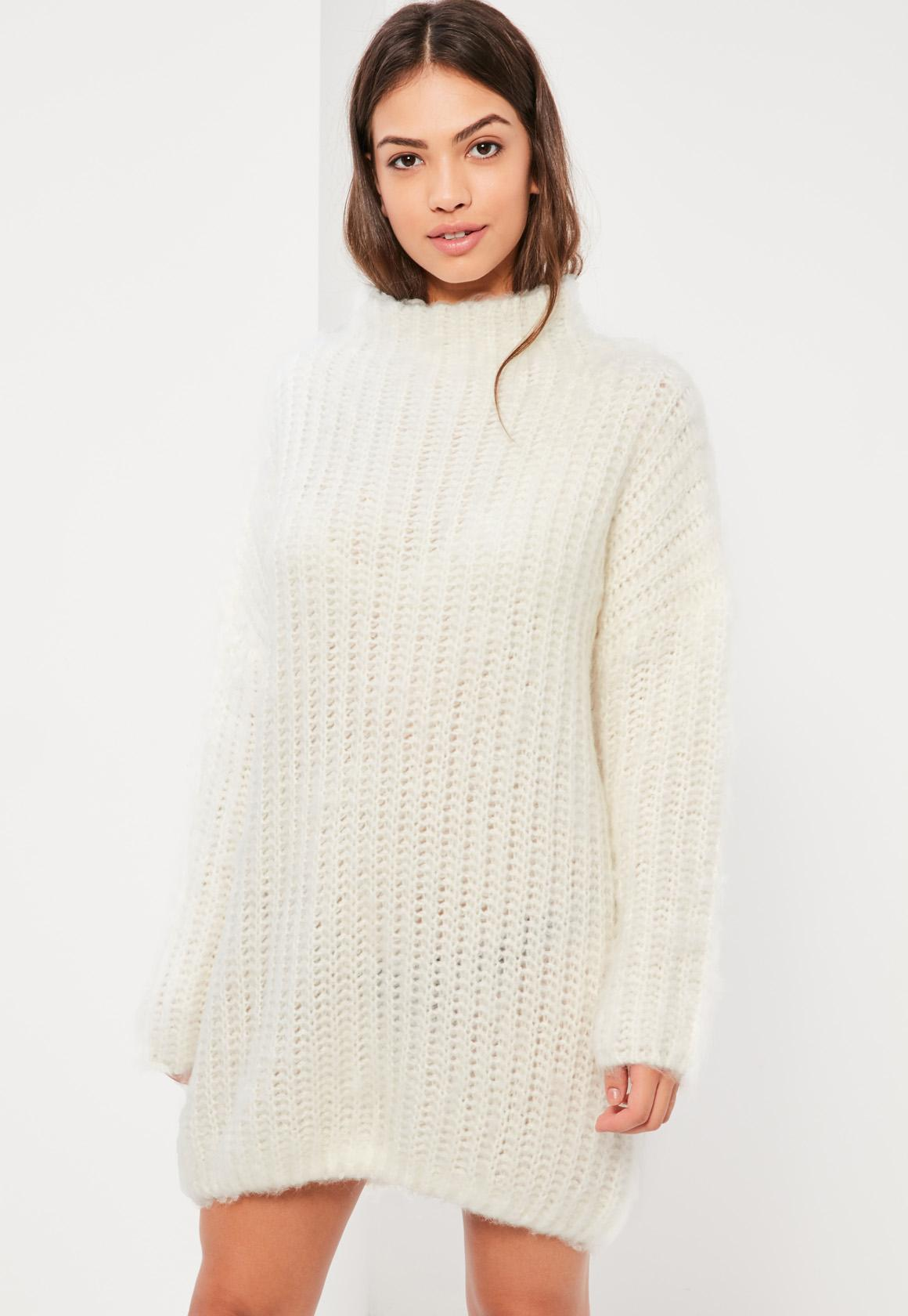 Cream Brushed Chunky Stitch Sweater Dress | Missguided