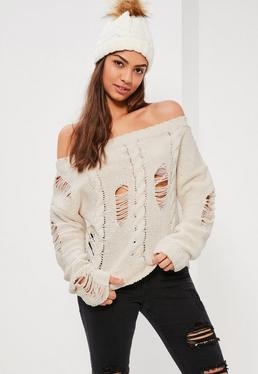 Cream Distressed Cable Off Shoulder Jumper