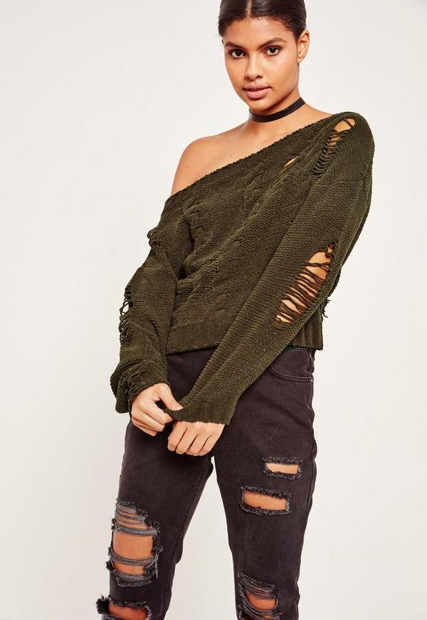 Distressed Cable Off Shoulder Jumper Khaki