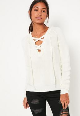 White Lace Up Detail Sweater