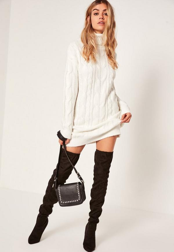 white brushed cable roll neck mini sweater dress missguided With robe en maille hiver