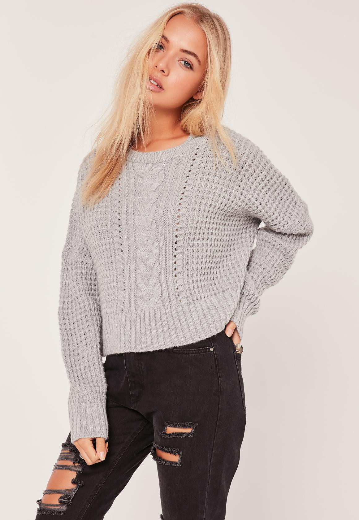 Grey Cable Cropped Sweater | Missguided