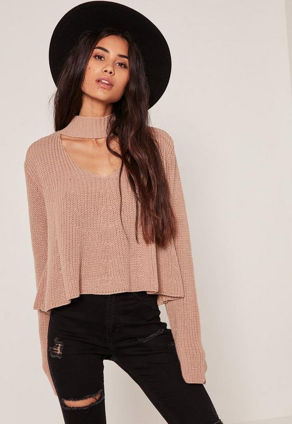Nude Choker Neck Chunky Cropped Jumper
