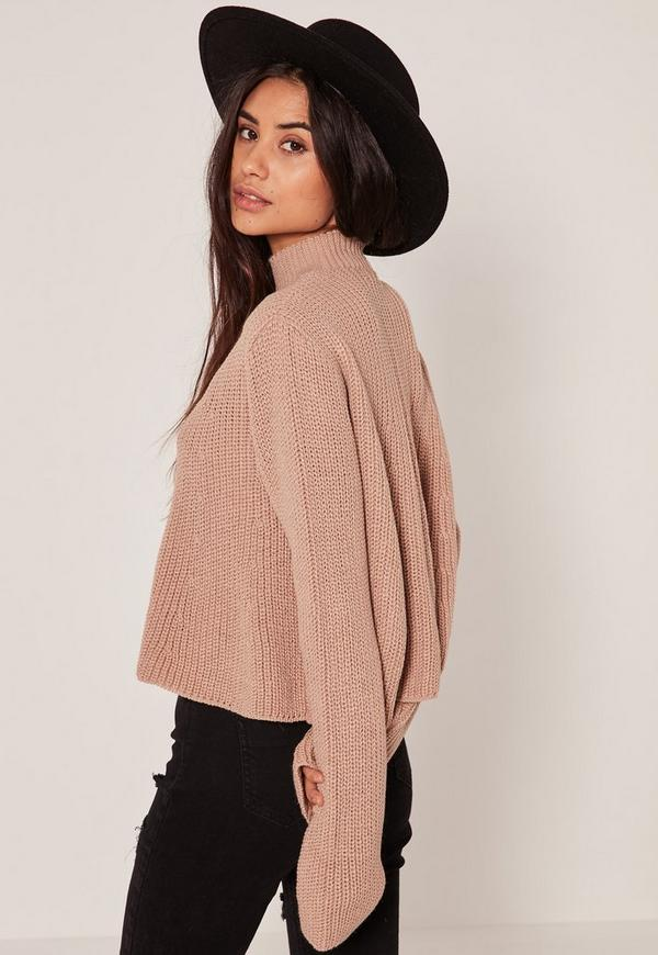 Nude Choker Neck Chunky Cropped Sweater | Missguided