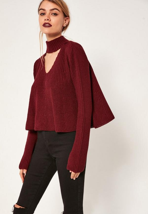 Burgundy Choker Neck Chunky Cropped Jumper
