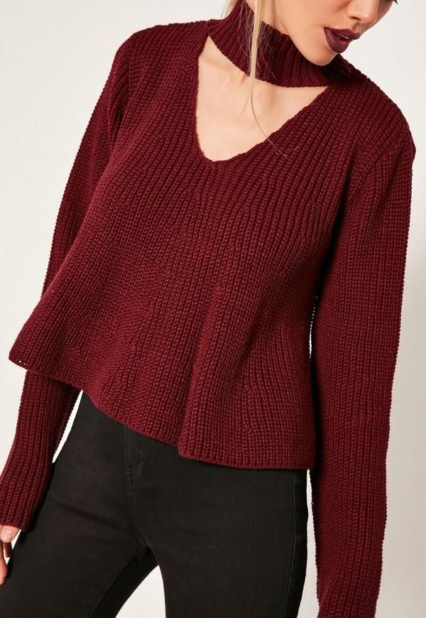 Burgundy Choker Neck Chunky Cropped Sweater | Missguided