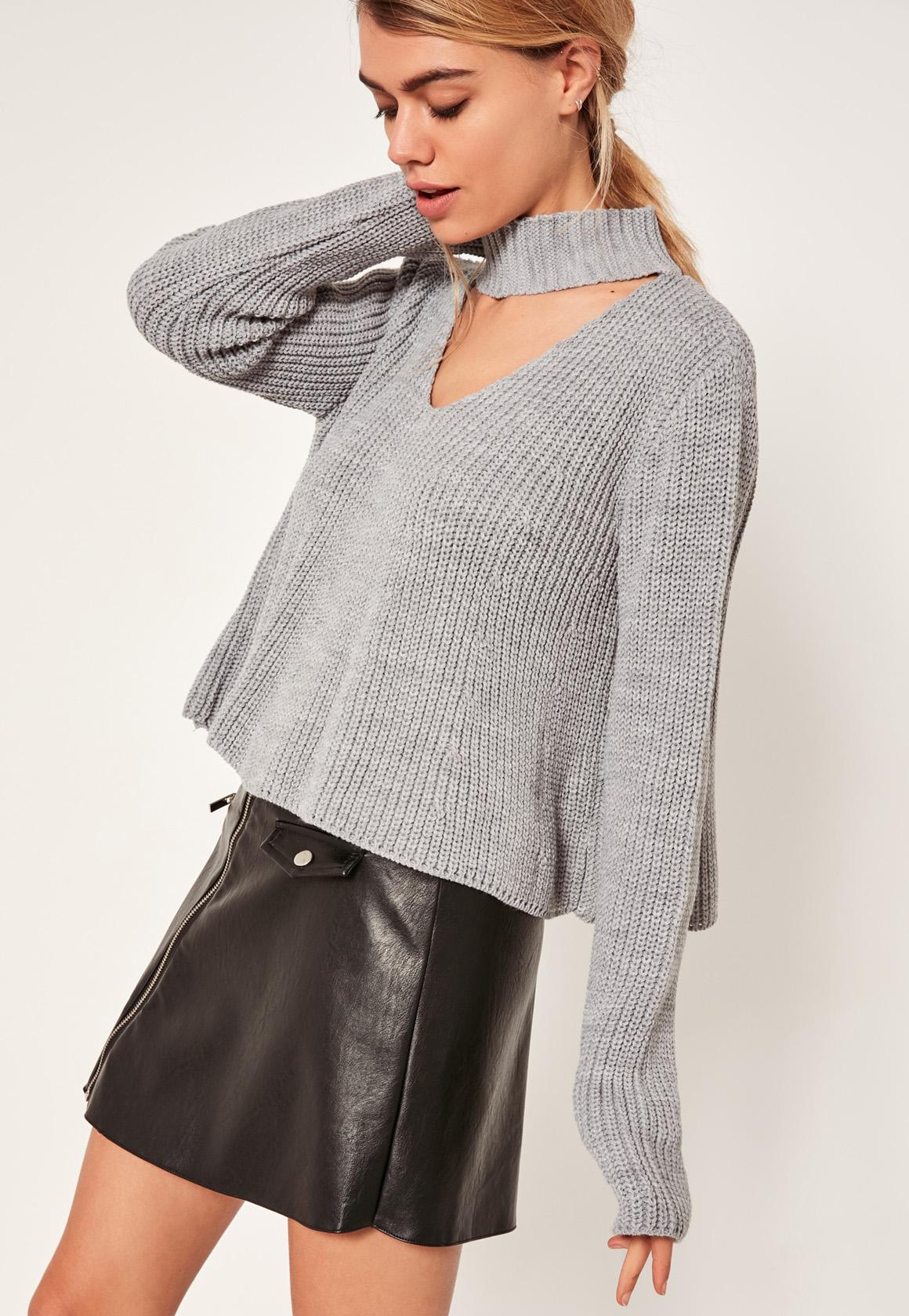 Grey Choker Neck Chunky Cropped Sweater   Missguided