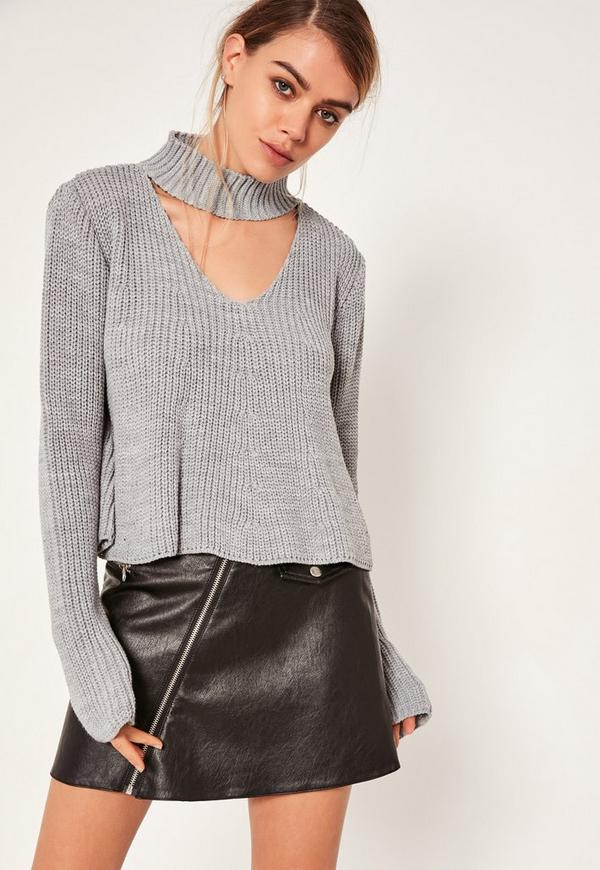 Choker Neck Chunky Cropped Jumper Grey   Missguided