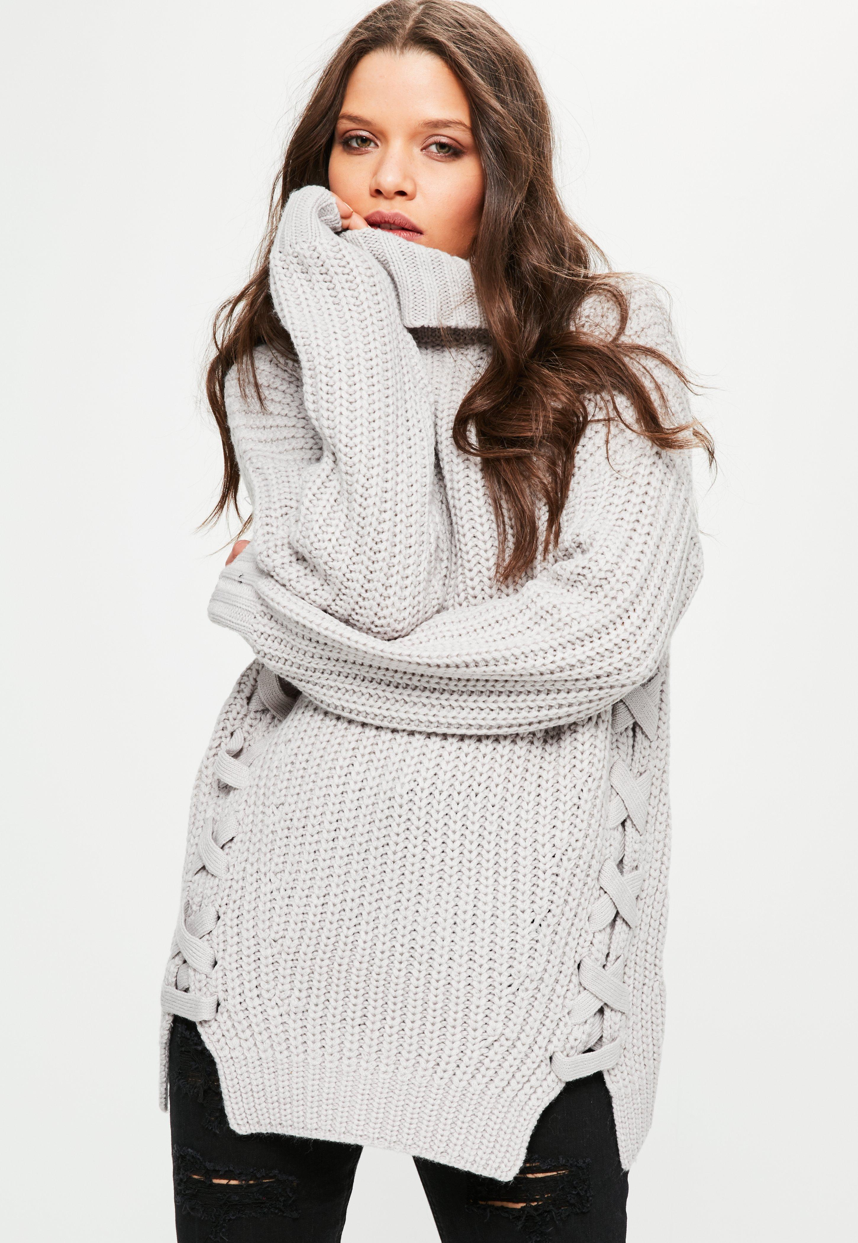 Chunky Lace Up Side Roll Neck Jumper Grey  e929d995c