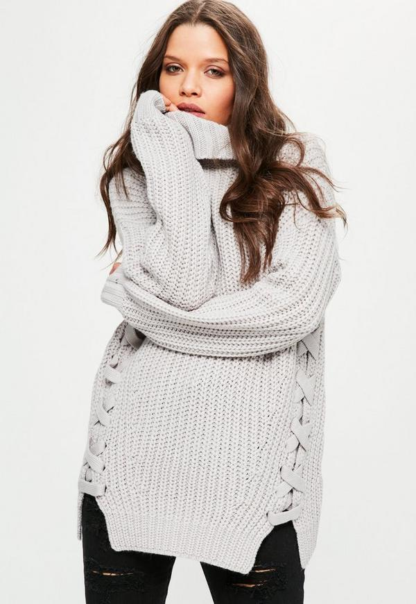 Chunky Lace Up Side Roll Neck Jumper Grey