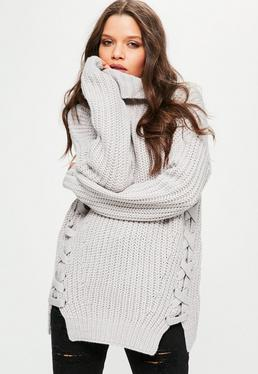 Grey Chunky Lace Up Side Turtleneck Sweater
