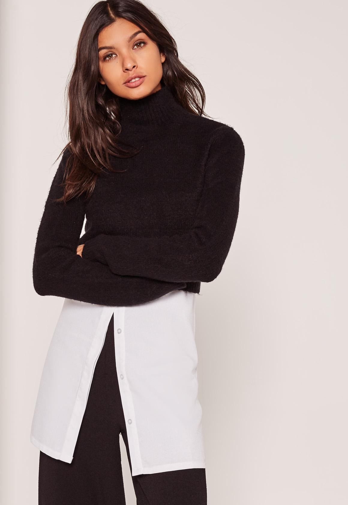 Black Turtleneck Fluffy Sweater | Missguided