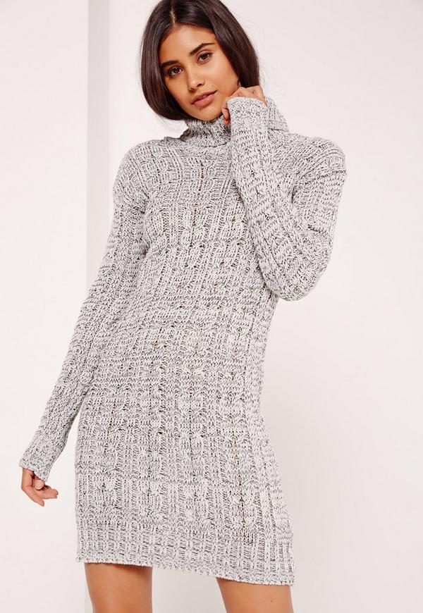 Roll Neck Long Sleeve Knitted Dress Grey