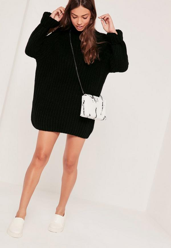 Black Oversized Knitted Mini Jumper Dress