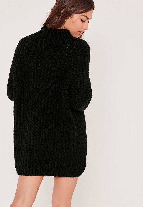 Black Oversized Knitted Mini Sweater Dress | Missguided