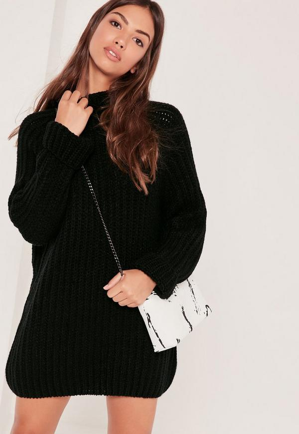 Black Oversized Knitted Mini Jumper Dress Missguided