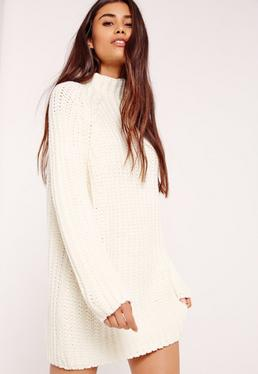 White Oversized Knitted Mini Sweater Dress