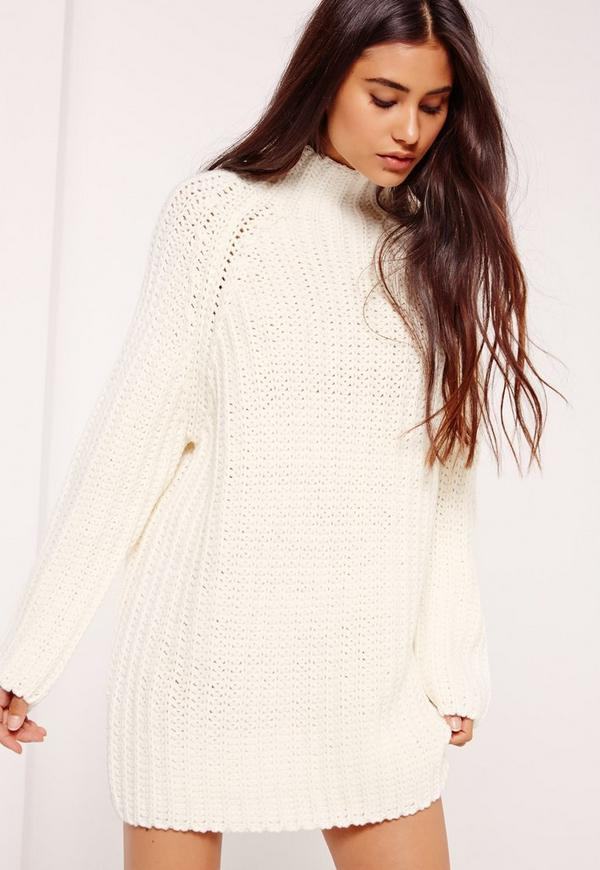 White Oversized Knitted Mini Jumper Dress | Missguided