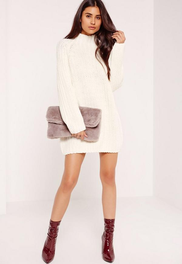 White Oversized Knitted Mini Jumper Dress Missguided