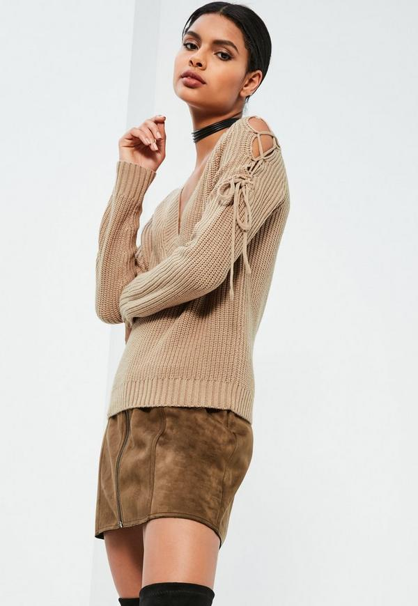 Nude Lace Up Cold Shoulder Chunky Stitch Jumper