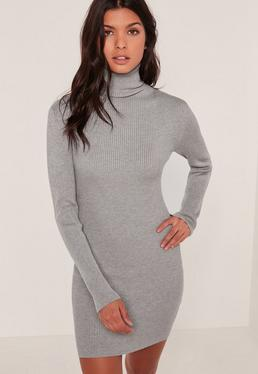 Grey Knitted Roll Neck Mini Dress