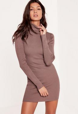 Purple Knitted Roll Neck Mini Sweater Dress
