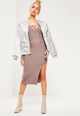 Purple Lace Up Midi Sweater Dress