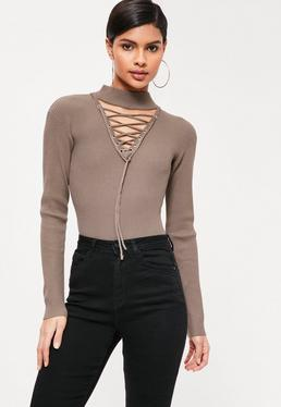 Brown Lace Up Choker Neck Bodysuit