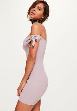 Purple Tie Bardot Ribbed Knitted Mini Dress